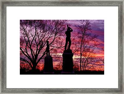 Durell's Independent Battery D And 48th Pa Volunteer Infantry-a1 Sunset Antietam Framed Print by Michael Mazaika