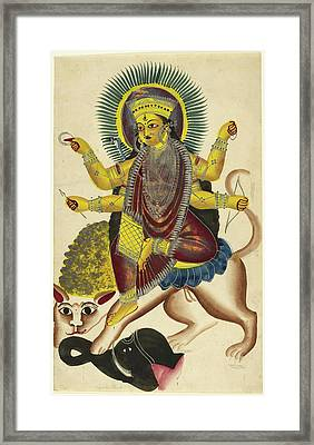Durga As Jagaddhatri Riding On Her Lion Framed Print by British Library