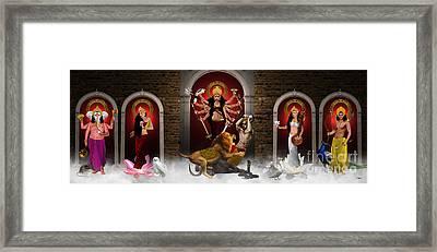 Durga Family Framed Print by Pixl Vixl