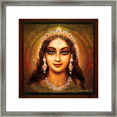 Durga In The Sri Yantra - Dark Framed Print by Ananda Vdovic