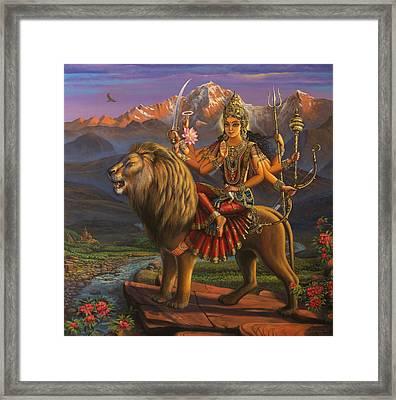 Durga Ma Framed Print by Vrindavan Das