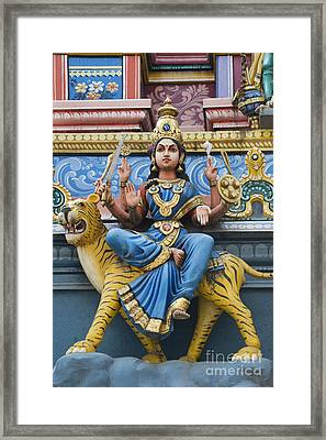 Durga Statue On Hindu Gopuram Framed Print by Tim Gainey