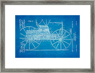 Duryea Road Vehicle Patent Art 1895 Blueprint Framed Print by Ian Monk