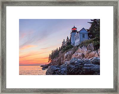 Dusk At Bass Harbor Light Framed Print by Stephen Beckwith