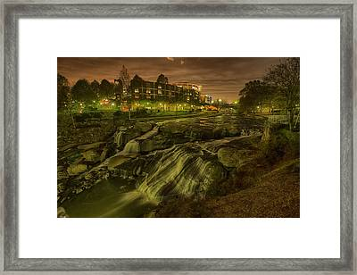 Dusk At Falls Park Greenville Sc Framed Print by Joel Corley