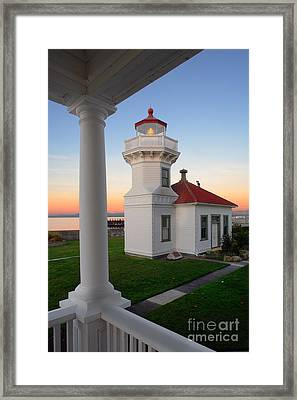 Dusk At Mukilteo Lighhouse Framed Print by Inge Johnsson