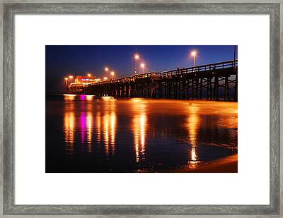 Framed Print featuring the photograph Dusk At Newport Pier by James Kirkikis