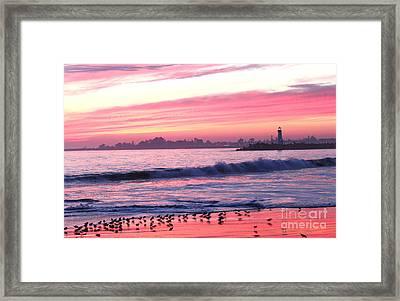 Dusk At Santa Cruz Harbor Framed Print by Theresa Ramos-DuVon
