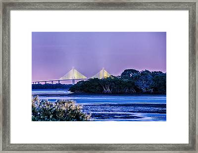 Dusk At The Skyway Bridge Framed Print