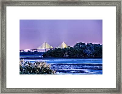 Dusk At The Skyway Bridge Framed Print by Michael White