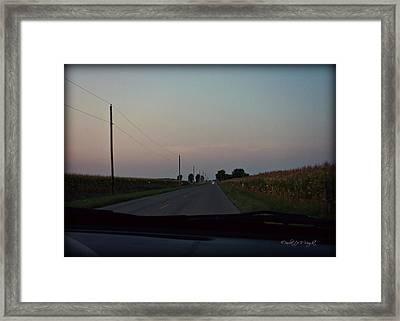 Dusk Between The Corn Stalks Framed Print by Paulette B Wright