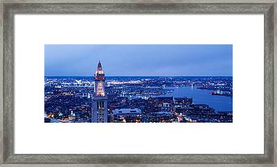 Dusk Boston Massachusetts Usa Framed Print by Panoramic Images