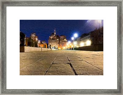 Dusk Falls On Boston's Long Wharf Framed Print by Mark E Tisdale