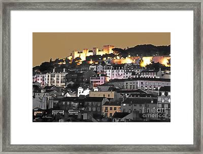 Dusk Falls On St. George Castle Lisbon Framed Print by Linda  Parker