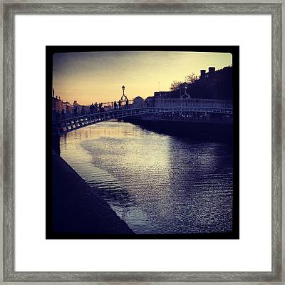 Dusk Haypenny Bridge Dublin Framed Print by Maeve O Connell
