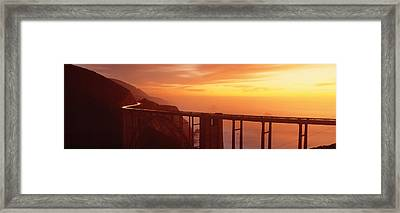 Dusk Hwy 1 W Bixby Bridge Big Sur Ca Usa Framed Print by Panoramic Images