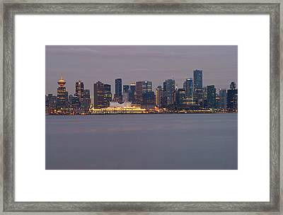 Dusk In Vancouver Framed Print by Ann  Badjura