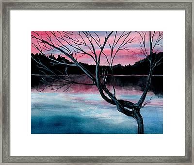 Dusk Lake Arrowhead Maine  Framed Print