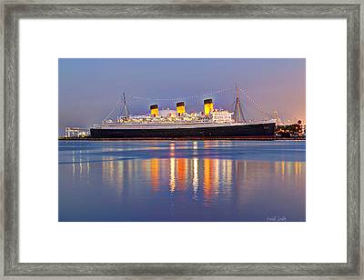 Dusk Light On The Queen Mary Framed Print by Heidi Smith