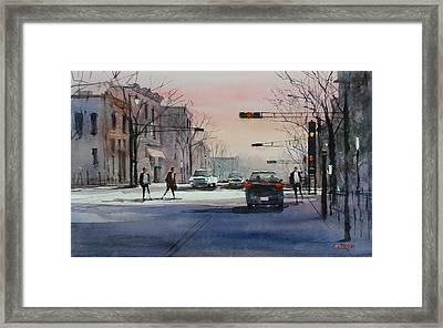 Dusk On Main Street - Fond Du Lac Framed Print