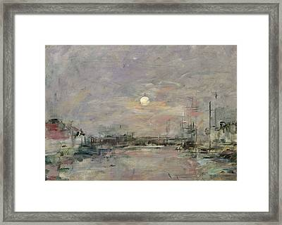 Dusk On The Commercial Dock At Le Havre Framed Print by Eugene Louis Boudin