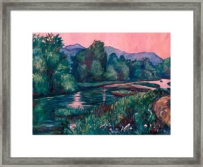 Dusk On The Little River Framed Print by Kendall Kessler