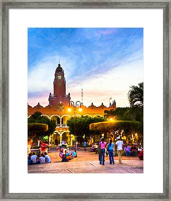 Dusk On The Zocalo In Merida Framed Print