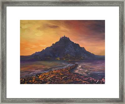 Framed Print featuring the painting Dusk Over St Michaels Mount Cornwall by Jean Walker