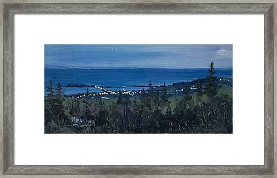 Dusk Settles Over Grand Marais Framed Print
