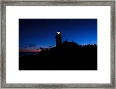 Dusk Silhouette At West Quoddy Head Lighthouse Framed Print by Marty Saccone