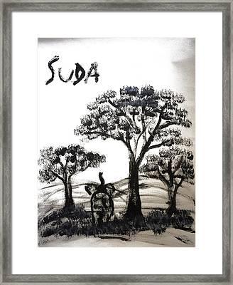 Prints - Elephant Paintings - Dusk Version 2 Framed Print