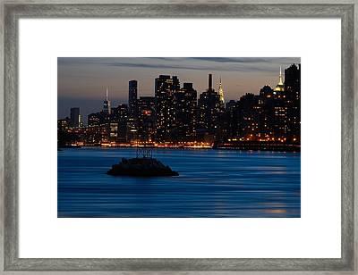 Dusky Nyc Skyline Framed Print by Mark Garbowski