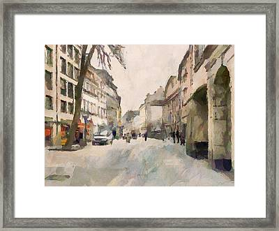 Dusseldorf Old Town Street 1 Framed Print by Yury Malkov