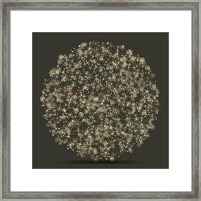 Dust Circle Abstract Network Pattern Framed Print by Frank Ramspott
