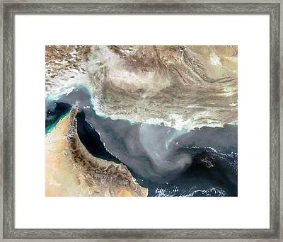 Dust Storm Over Iran Framed Print by Nasa