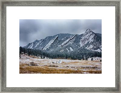 Dusted Flatirons Chautauqua Park Boulder Colorado Framed Print by James BO  Insogna