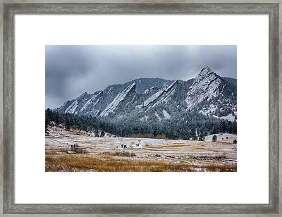 Dusted Flatirons Chautauqua Park Boulder Colorado Framed Print