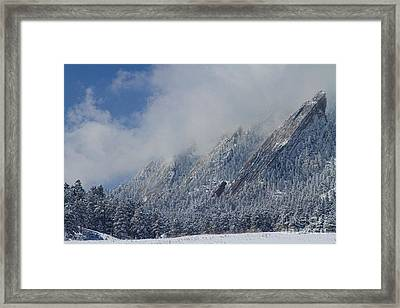 Dusted Flatirons Low Clouds Boulder Colorado Framed Print