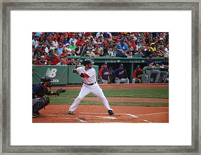 Dustin Pedroia Of The Red Sox Framed Print by Alan Holbrook