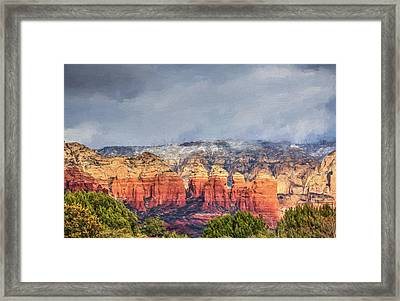 Dusting Of Snow- Sedona Framed Print by Donna Kennedy
