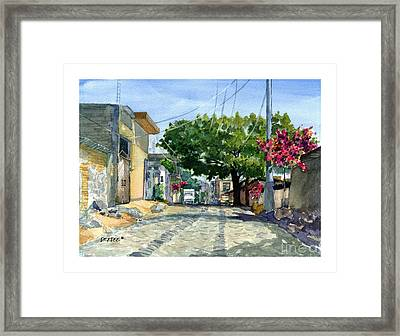 Dusty Backstreet In Ajijic Framed Print