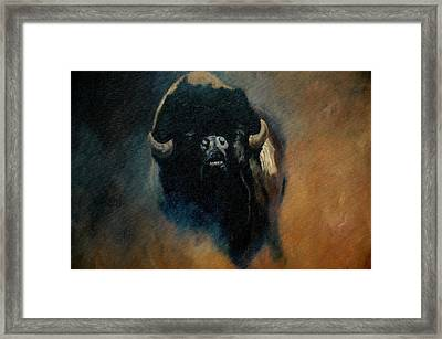 Dusty Buffalo Framed Print by Jean Yves Crispo