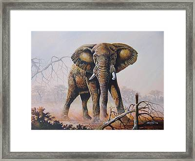 Framed Print featuring the painting Dusty Jumbo by Anthony Mwangi