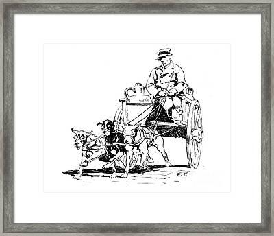 Dutch Dog Cart 1884 Framed Print by Padre Art
