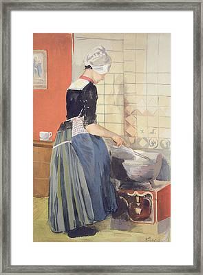 Dutch Girl Cooking, From Lestampe Framed Print