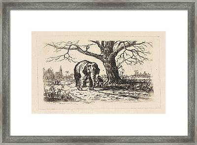 Dutch Landscape With An Elephant And Supervisor Framed Print by Elias Stark