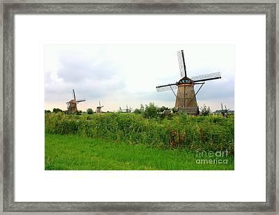 Dutch Landscape With Windmills Framed Print by Carol Groenen