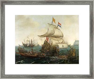 Dutch Ships Ramming Spanish Galleys Off The English Coast Framed Print