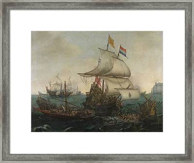 Dutch Ships Running Down Spanish Galleys Off The English Framed Print by Quint Lox