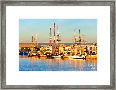 Dutch Tall Ships Docked Framed Print by Bill  Robinson